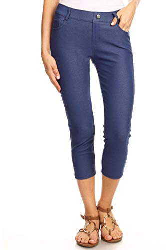 ICONOFLASH Women's Denim Blue 5 Pocket Capri Jeggings - Pull On Skinny Stretch Colored Jean Leggings Size Large