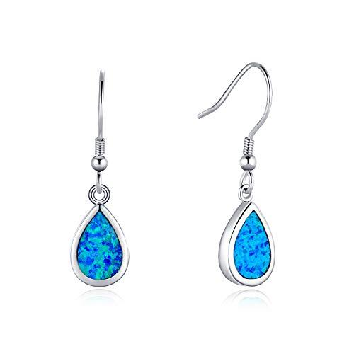 (Opalmaster Sterling Silver Blue Opal Teardrop Dangle Earrings Dainty Pear Shaped Hook Earrings Jewelry for Women)
