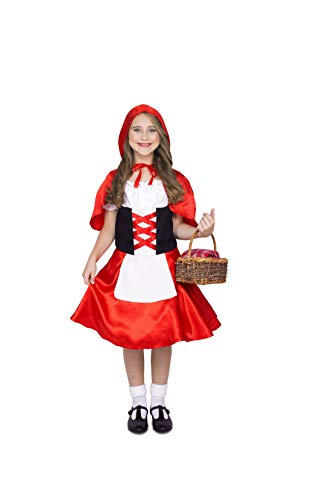 Little Red Riding Hood Dress and Cape Halloween Costume for Girls, M ()