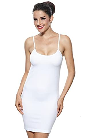 Khaya Women's Long Cami Full Slip Dress Straight Dress with Spaghetti Straps X-Large White