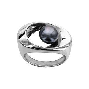 1001 Bijoux - Bague argent rhodié perle d'eau douce grise