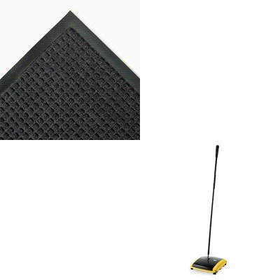 KITCWNSSR035CHRCP421388BLA - Value Kit - Super Soaker Wiper Mat with Gripper Bottom, 34 x 58, Charcoal (CWNSSR035CH) and Dual Action Sweeper, Boar/Nylon Bristles, 42quot; Steel/Plastic Handle, Black/Yellow - Crown Super Soaker Wiper Mat
