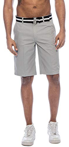 TR Fashion Men's Bahamas Belted Walking Shorts (Grey, 30) ()