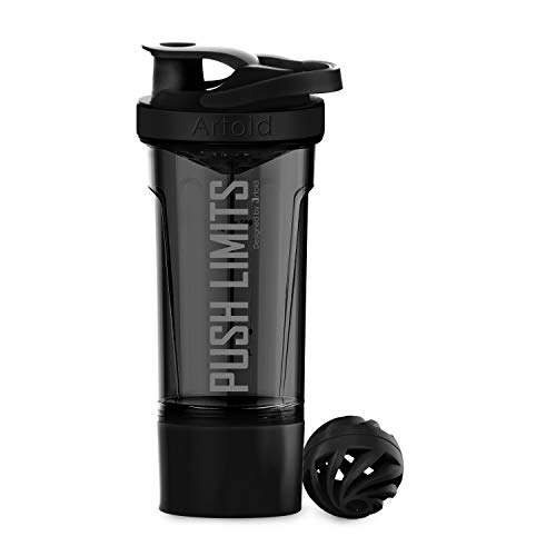 Artoid Mode Inspirational Fitness Workout Sports Protein Shaker Bottle 24-Ounce, Dual Mixing Technology with Shaker Balls & Mixing Grids Included, Twist and Lock Protein Box Storage Included