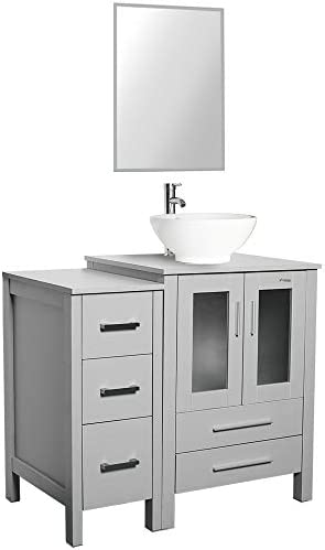 36″ Grey Bathroom Vanity and Sink Combo,Ceramic Vessel Sink