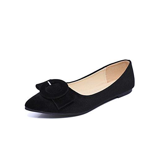 Hebilla de cinturón Pisos puntiagudos de superficiales en la primavera en Europa y América/Joker plana zapatos mujer/Zapatos de Doug A