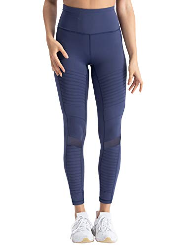 Hopgo Women's High Waist Moto Legging 4 Way Stretch Workout Leggings 7/8 Gym Yoga Pants Twilight Blue US XL