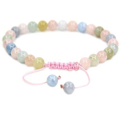 (Natural A Grade Morganite Beryl Aquamarine Gemstone 6mm Round Beads Adjustable Bracelet 7