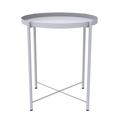 Stupendous Round Side Table 20 Small Reversible Metal Tray End Gmtry Best Dining Table And Chair Ideas Images Gmtryco