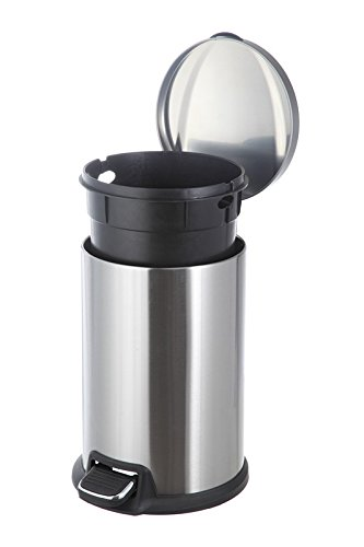 Home Zone 12-Liter Stainless Steel Round Step Trash Can by Home Zone (Image #3)