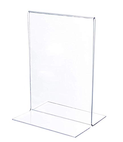 Premium Quality Acrylic Sign Holder 5 x 7 Inches - T-Shaped Frame, Double-Sided Clear Display for Photos, Menu, Ads - Set of 6