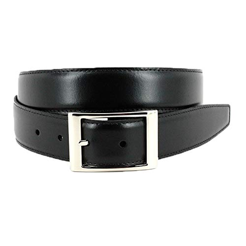 Torino Leather Italian Aniline Leather - Reversible Black to Brown Dress Belt 44