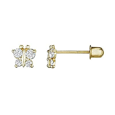 14kt Solid Gold Kids Butterfly Stud Screwback Earrings from Stephanie Rockway