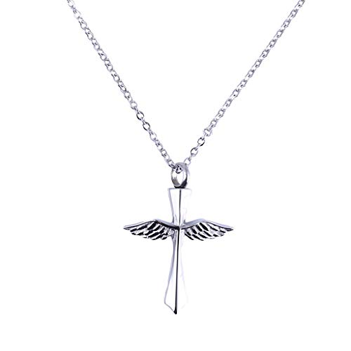 IslandseWings Cross Necklace Souvenir Jewelry Feather Cremation Memorial Pendant Silver ()