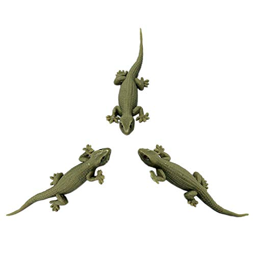House Gecko Rubber Lizard Toy 5 inch (Pack of 3) – Cream