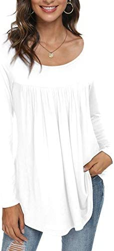 CATHY Women's Casual Long Sleeve Ruffle Tunic Tops Loose T Shirt Blouse for Leggings