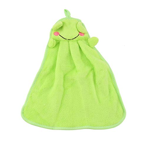 (Chelsea Nursery Soft Plush Fabric Cartoon Animal Hanging Towel Washcloth Hand Towel Green)