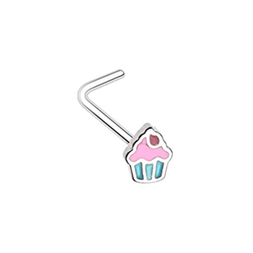 20 GA 316L Stainless Steel Icing to my Cupcake L-Shape Nose Ring