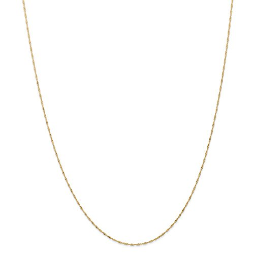 Ball Italian Tennis Charm - 14k Yellow Gold 1mm Link Singapore Chain Necklace 24 Inch Pendant Charm Carded Fine Jewelry Gifts For Women For Her