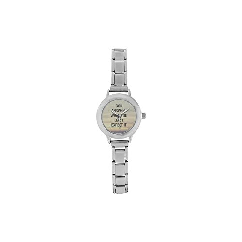 (Hot Sale Watch God answers when you least expect it - Bible Verse Round Italian Charm stainless steel Women's)