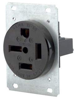 (Leviton 8450 50 Amp, 250 Volt, Flush Mounting Receptacle, Straight Blade, Industrial Grade, Grounding, Black)