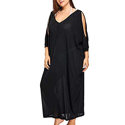 HebeTop ✰ Women's Cold Shoulder Plus Size Casual T-Shirt Swing Dress Sleeveless Gathered Dress Black