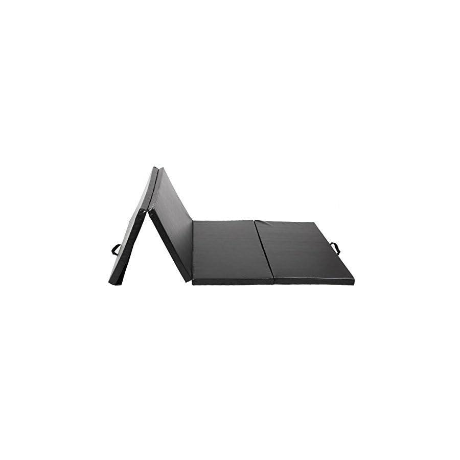 "4'x8'x2"" Thick Folding Panel Gymnastics Mat Gym Fitness Exercise Mat Black"