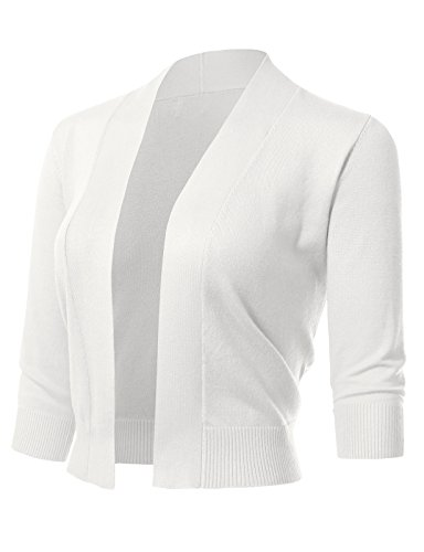 ARC Studio Women's Classic 3/4 Sleeve Open Front Cropped Cardigans (S-XL) S White (Ribbed Wool Blend)