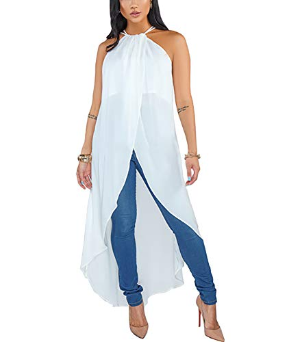(Women's High Low Tops Shirts - Sexy Sleeveless Halter Blouses Dresses X-Large White)