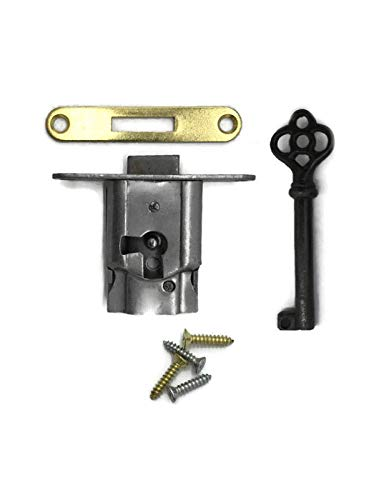 Full Mortise Cabinet Door or Drawer Lock w/Plate and Skeleton Key - Antique Furniture Hardware   S-15S