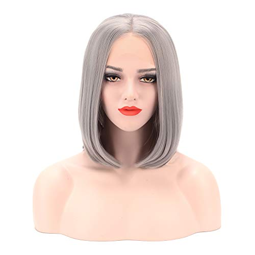 Imiss Hair Glueless Grey Lace Front Wigs Short Bob 14Inch Gray Middle Part Synthetic Silver Wig Heat Resistant Fiber for Women Girls ()