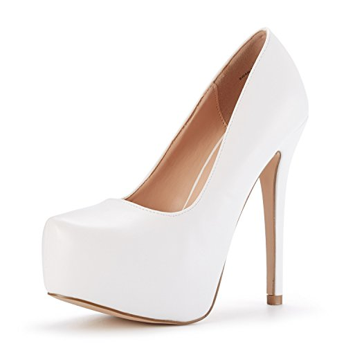 DREAM PAIRS Women's Swan-30 White Pu High Heel Plaform Dress Pump Shoes Size 7 M US