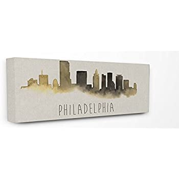 Stupell Industries Philadelphia Skyline Silhouette Stretched Canvas Wall Art, 10 x 1.5 x 24, Multi-Color