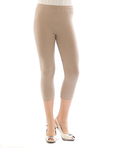 Yeset Femme Legging longueur 3/4 Capri court Leggings cotton BEIGE XXXL