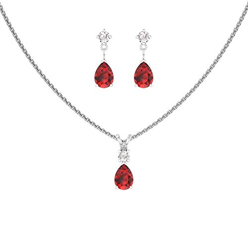 Sterling Silver Jewelry Set for Women Pear shaped 7x5mm Garnet and 3mm Natural White Topaz Pendant Necklace and Matching Pear Shaped Garnet & White Topaz Stud Earrings