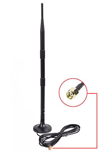 Wifi Antenna Extension - Queenti 9dbi High Gain WiFi Booster Router Indoor Omni-directional Extender Antenna with Magnetic Stand Base & 5ft Extension Cable, 2.4GHz 802.11n/b/g, RP-SMA Male Connector