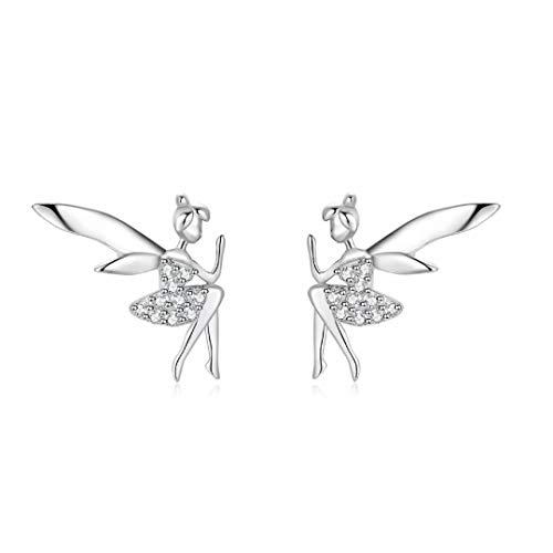 Qings Pendientes de hadas elfos Alas de moda Plata de ley 925 Regalos sorpresa para mujeres y niñas a buen precio