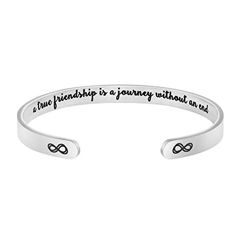 MEMGIFT A True Friendship is a Journey Without an end Best Friend Bracelet Hidden Message Cuff Bangle Christmas Friendship Gifts for Her