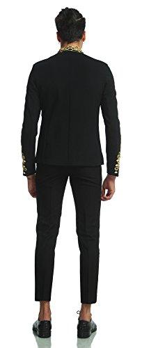 Pizoff Men's Luxury Gold Slim Fit Stylish Suit Blazer Jacket Long Sleeve Formal Dress AD001-03-S by Pizoff (Image #4)