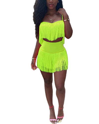 Womens Sexy 2 Piece Outfits Sleeveless Crop Top Feather Tassels Bodycon Mini Dress Outfits Clubwear Green