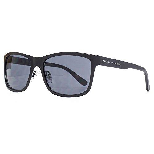 French Connection lunettes de soleil métalliques rétro en noir mat FCU677 Matte Black Grey