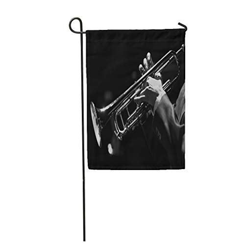 Semtomn Garden Flag 12x18 Inches Print On Two Side Polyester Hands of The Musician Playing Trumpet Closeup in Black and White Home Yard Farm Fade Resistant Outdoor House Decor -