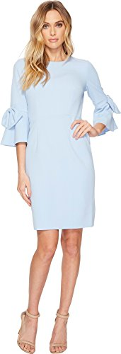 Donna Morgan Women's 3/4 Bell Sleeve Shift Dress With Bow Detail, Powder Blue 18, 10 (Blue Powder Dress)