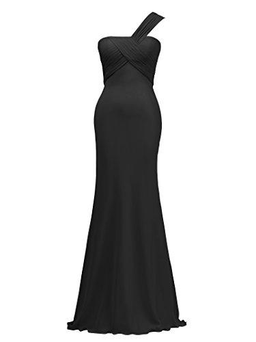 Party Dress Dress Bridal Chiffon Alicepub Black Asymmetric Gown Evening Bridesmaid Long pp8qtwU