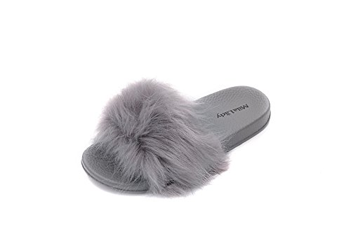 Lady And Slip Gray Women's On Slippers Sahna Softey Fashion Fur Sandal Mila 0XPwWdxHqX