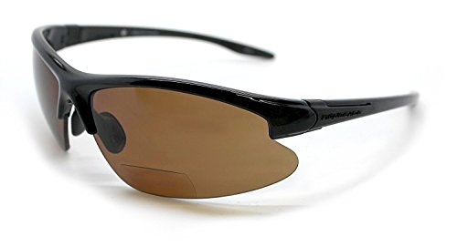 Renegade Patented Bifocal Polarized Reader Half Rim Men's Fishing Sunglasses 100%UV Protection (Glossy Black Frame, Brown Lens - 612063, Bifocal - Bifocal For Sunglasses Men Polarized