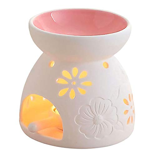 Singeek Ceramic Tea Light Candle Holder/Wax Melt Warmer, Essential Oil Burner Aromatherapy Diffuser for Living Room, Balcony Spa Yoga Meditation (Pink)