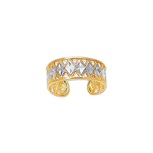 14K White and Yellow Gold Diamond-Cut Millgrain Design Cuff Style Adjustable Toe Ring, 1.3gr.