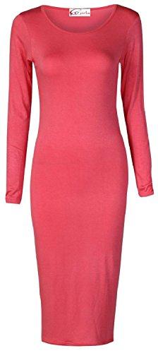Ladies Sleeve Long Dress Coral Crazy Womens Midi Girls Scoop Neck 7FIqwqvxE