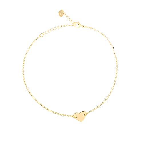 Fremttly Handmade Dainty Anklet for Womens 14K Gold Filled Heart Foot Chain Adjustable-ANK-C Heart - Gold Anklet Heart 14k